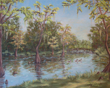 Pastel painting of Greenfield Lake in Wilmington, NC