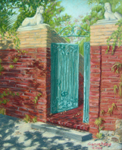 Pastel painting of a copper gated garden wall on Nun Street in Wilmington, NC