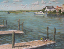 original pastel painting of Bank's Channel and harbor Island, Wrightsville Beach, NC
