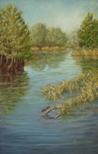 Pastel painting of the Cypress Lake behind the New Hanover County Senior Center
