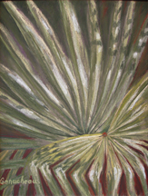 Light and shadow play off of palmetto leaves in this pastel painting