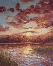 Pastel painting of the view of the Cape Fear River from the Coast Line Convention Center.