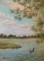 The road to beaufort. Pastel painting of the view from the Duke Marine Lab on Pivers Island